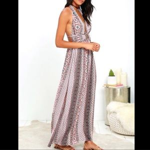 Lulu's | Truth be Told Halter Maxi Dress S
